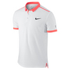 NIKE Men`s Advantage Premier Roger Federer Tennis Polo White and Hot Lava