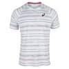 ASICS Men`s Club Graphic Short Sleeve Tennis Tee Real White and Stripe Print