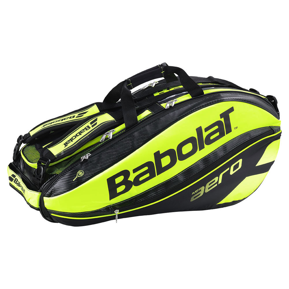 babolat aero 9 pack tennis bag black and yellow