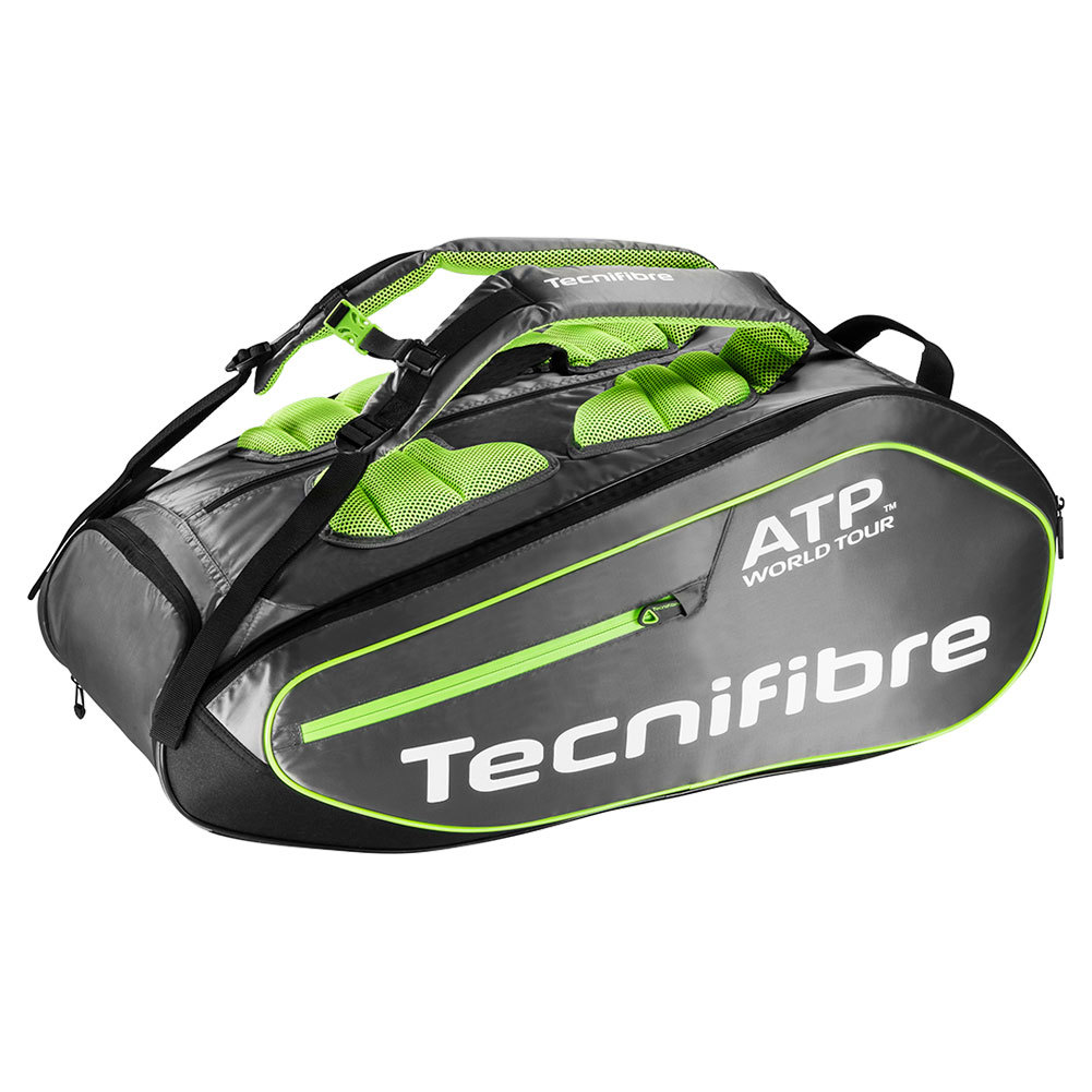 Tecnifibre Tour Ergonomy Atp 12 Pack Tennis Bag Gray And Green