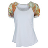 DENISE CRONWALL Women`s Cap Sleeve Tennis Top White and Catalina Print