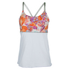 DENISE CRONWALL Women`s Spaghetti-Strap Tennis Top White and  Catalin Print