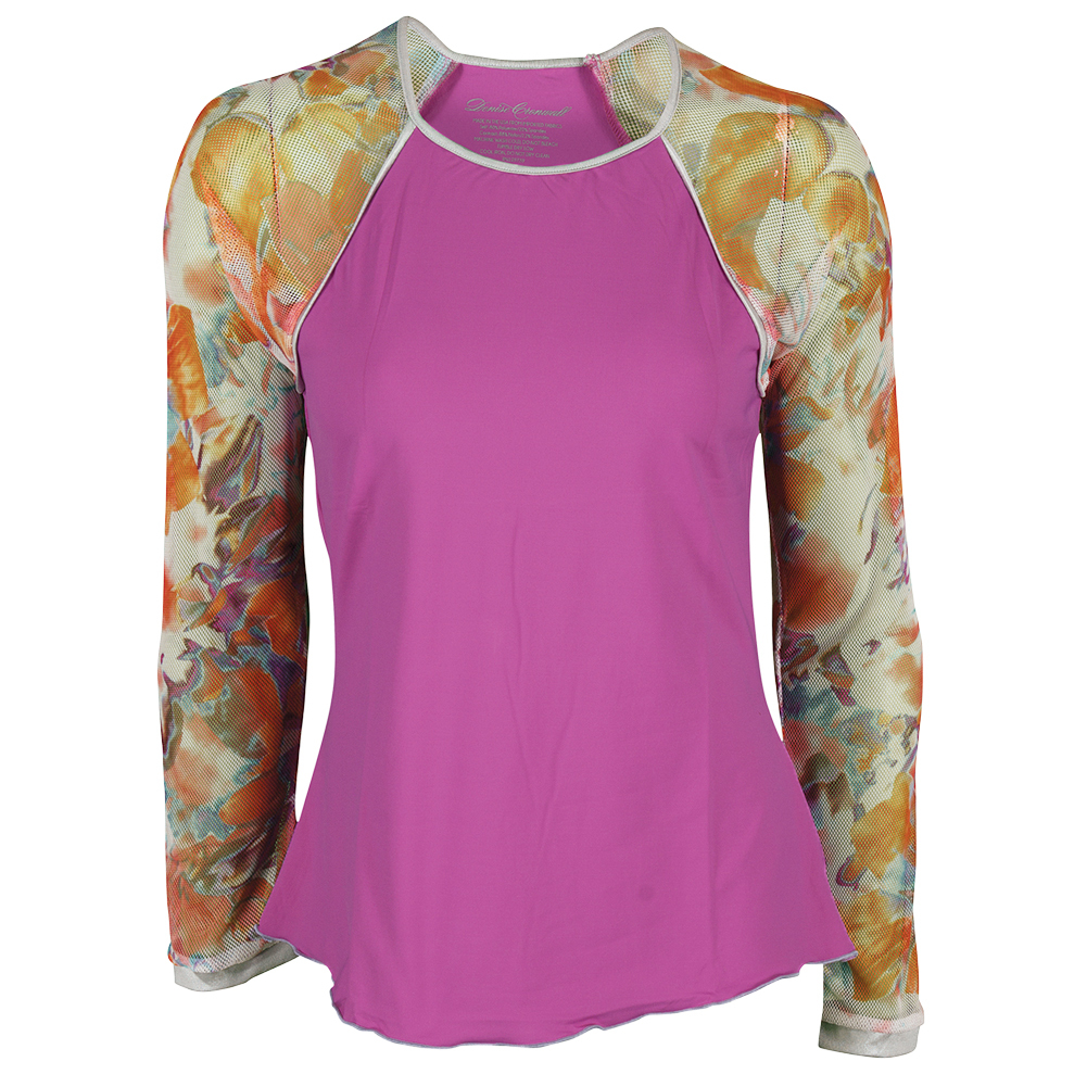 Women`s Long Sleeve Tennis Top Lilac and Catalina Print