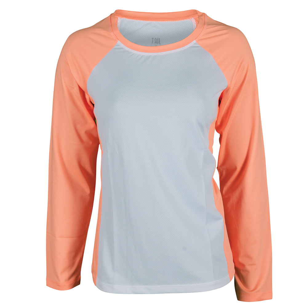 Women's Wren Long Sleeve Tennis Top Cooling Sherbet And White