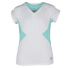 Girls` Diva Cap Sleeve Tennis Top 100_WH/ICY_BLUE