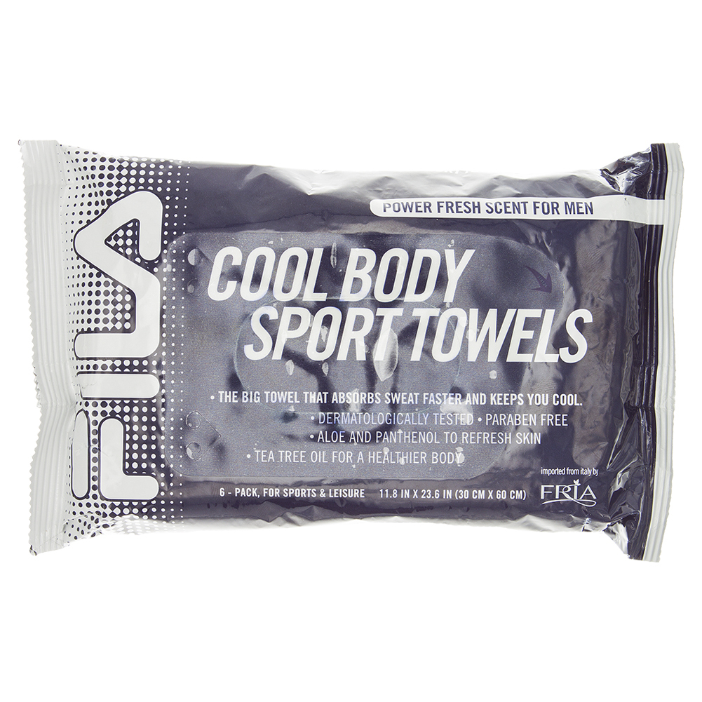 Cool Body Sport Towel Power Fresh Scent Six Pack