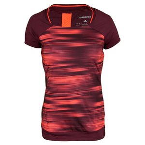 Women`s Response Trend Tennis Tee Maroon and Solar Red