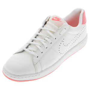 Men`s Classic Ultra Leather Tennis Shoes Ivory and Lava Glow
