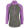 JOFIT Women`s Spritzer Long Sleeve Tennis Mock Top Sea Breeze Funfetti