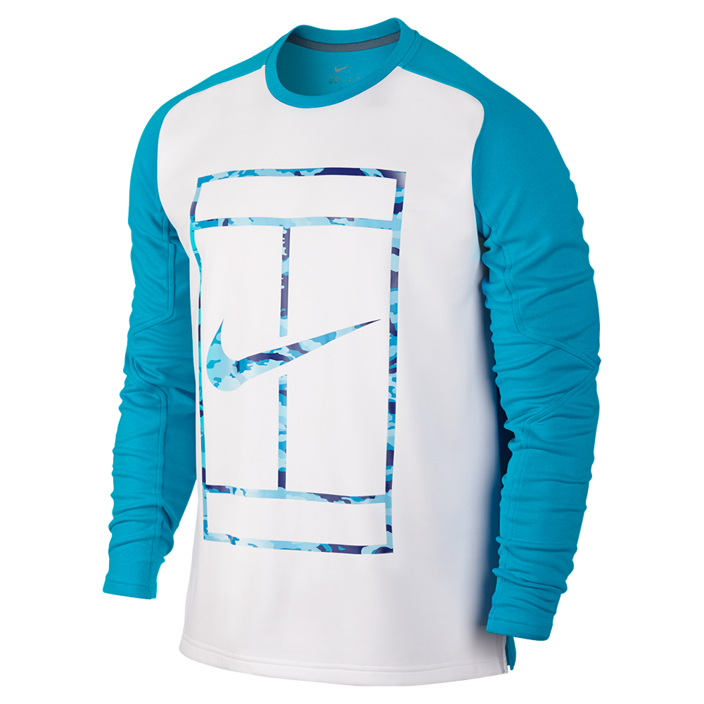 Men`s Practice Long Sleeve Tennis Crew Blue Lagoon and White