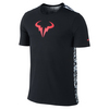 NIKE Men`s Rafa Short Sleeve Tennis Crew Tee Black and Hot Lava