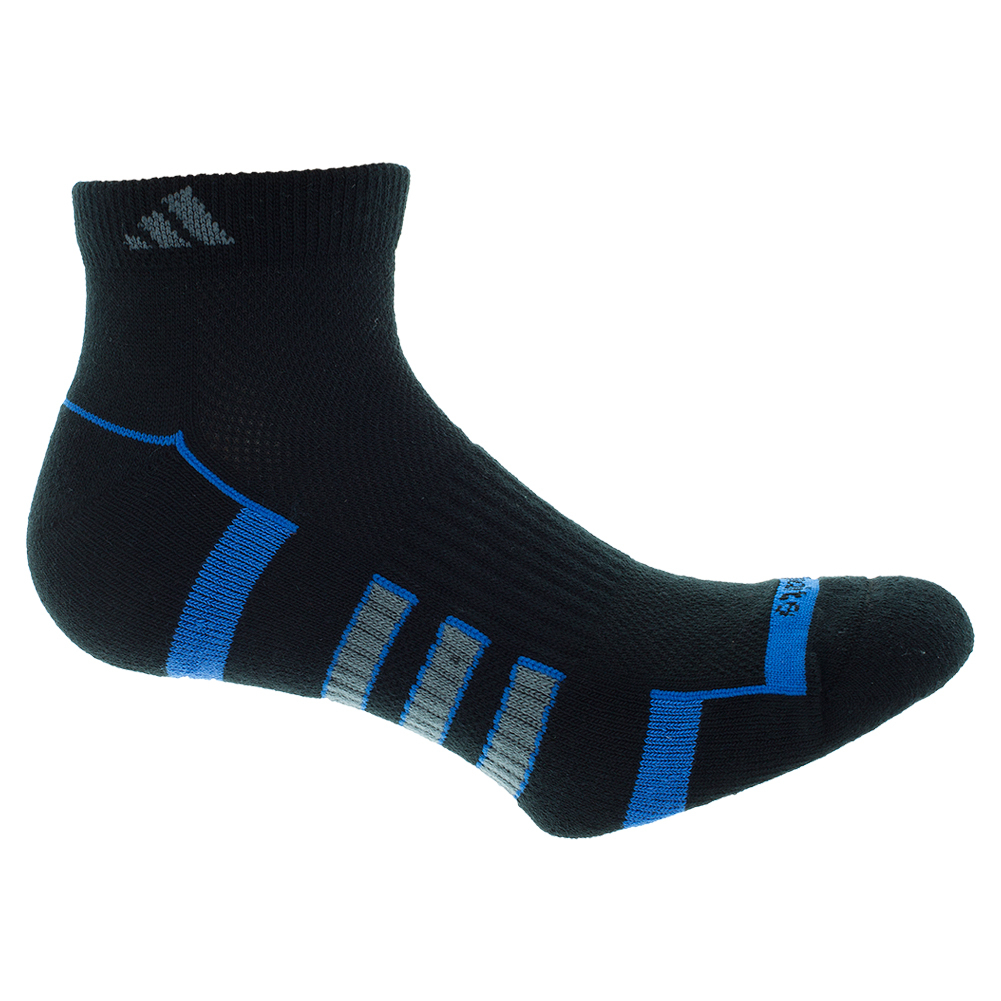 Men`s Climalite II Low Cut Tennis Socks 2 Pack Black and Bright Royal