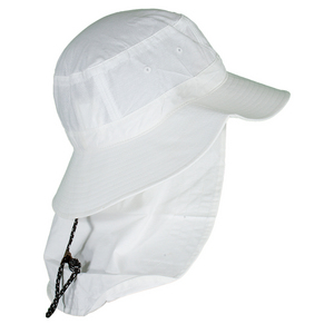 Lightweight Bucket Style Hat with Cape White