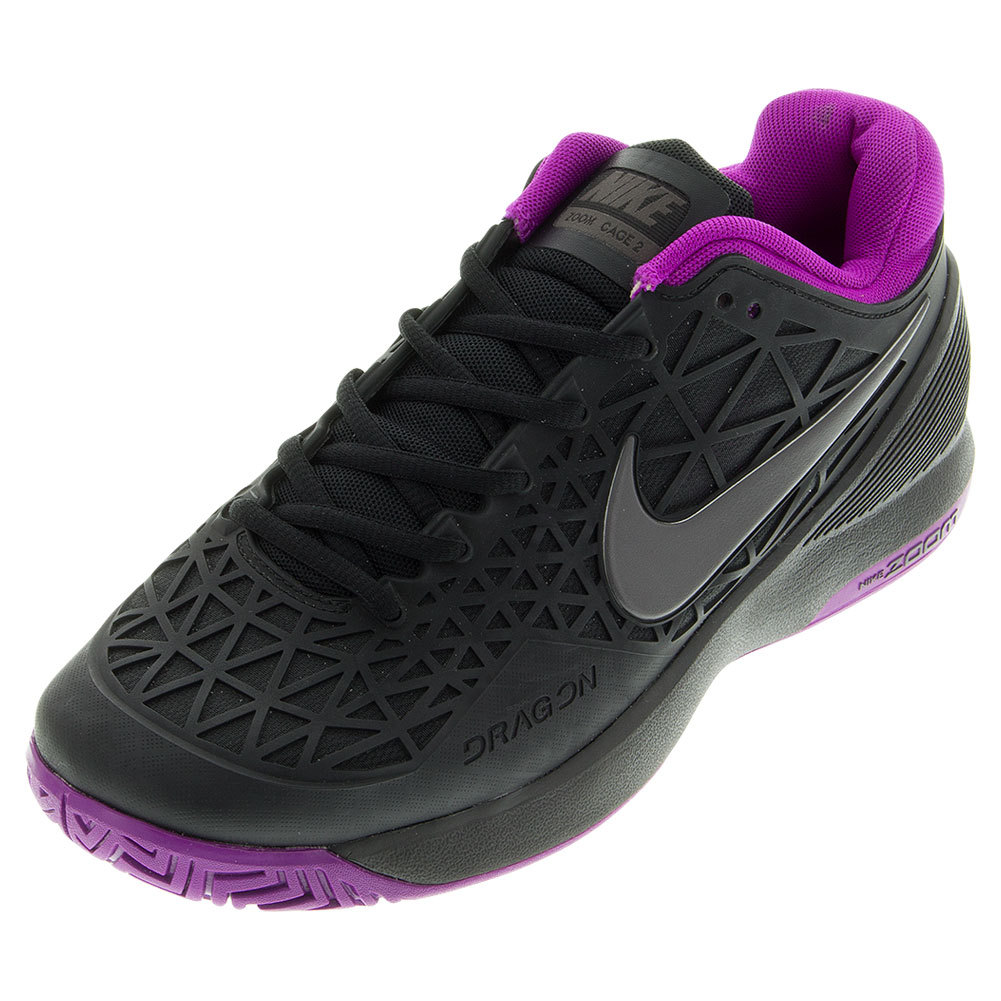 nike s zoom cage 2 tennis shoes black and purple