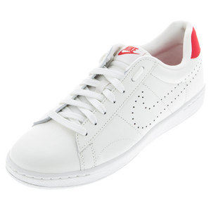 Men`s Classic Ultra Leather Tennis Shoes Ivory and University Red