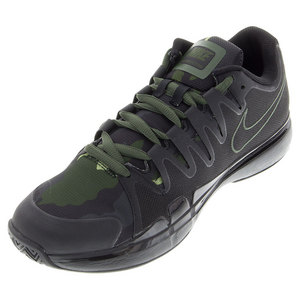 Juniors` Zoom Vapor 9.5 Tour Tennis Shoes Black and Carbon Green
