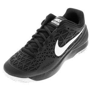 Juniors` Zoom Cage 2 Tennis Shoes Black and White