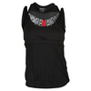 LUCKY IN LOVE Women`s Scaling Up High Neck Double Up Tennis Tank Black