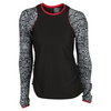 LUCKY IN LOVE Women`s Scaling Up Long Sleeve Tennis Crew Black and Print