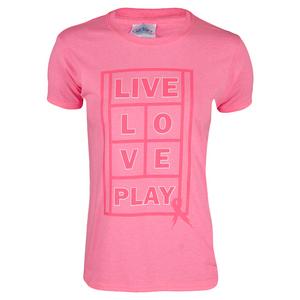 Women`s Live Love Play Tennis Tee Pink