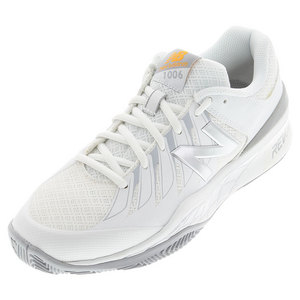 Women`s 1006 D Width Tennis Shoes White and Silver