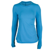 SOFIBELLA Women`s Spectrum Crewneck Long Sleeve Tennis Top Reflective Blue