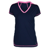 SOFIBELLA Women`s Spectrum Classic Mock Sleeve Tennis Top Navy