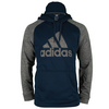 ADIDAS Men`s Tech Fleece Pullover Hoodie Collegiate Navy and Dark Gray Heather