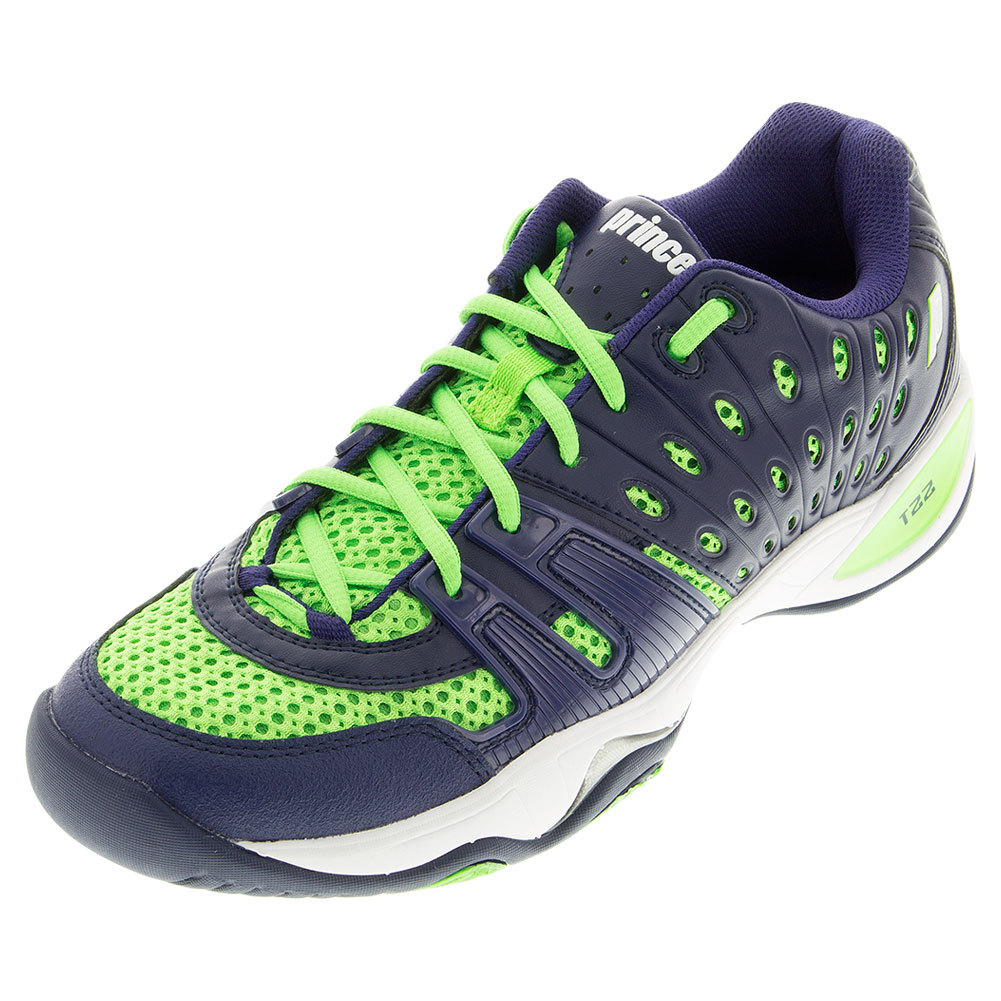 prince mens t22 tennis shoes navy lime