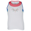 LUCKY IN LOVE Girls` Rhinestone Racerback Tennis Tank White