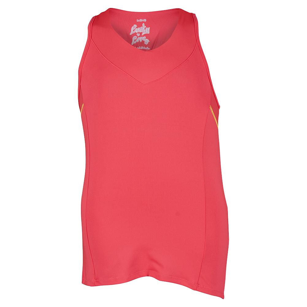 Girls ` V- Neck Racerback Tennis Tank Coral Crush