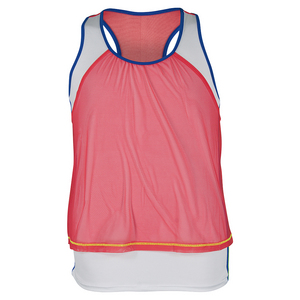 LUCKY IN LOVE GIRLS MESH CROP TENNIS TANK CORAL CRUSH