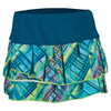 LUCKY IN LOVE Women`s Checked Out Pleated Tier Tennis Skort Indigo and Print