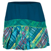 LUCKY IN LOVE Women`s Long Checked Out Pleat Tennis Skort Indigo and Print