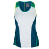 LUCKY IN LOVE Women`s Bungee Tennis Tank White and Indigo