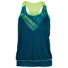LUCKY IN LOVE Women`s Checked Out Barlet Tennis Tank Indigo and Print