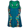 LUCKY IN LOVE Women`s Taking Shape Racerback Tennis Tank Indigo and Print