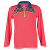 LUCKY IN LOVE Girls` 1/4 Zip Long Sleeve Tennis Top Coral Crush