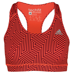 Women`s Techfit Bra Solar Red and Maroon Print