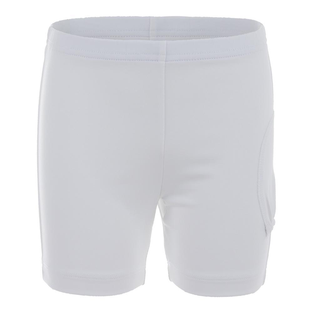 Girls ` Tennis Shorty W/Ball Pocket White