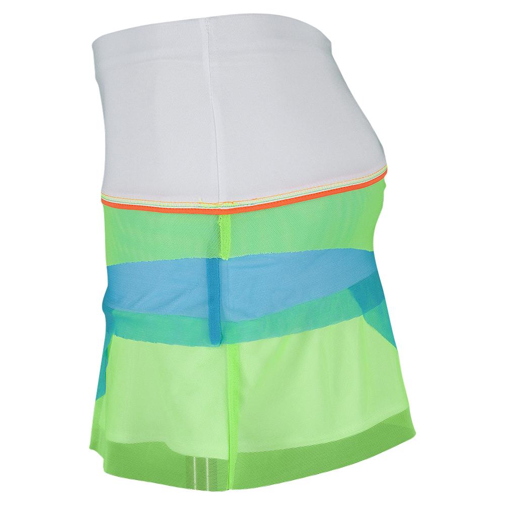 Girls ` Mesh Scallop Tennis Skort White And Multi