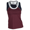 LUCKY IN LOVE Women`s Double-Up Racerback Tennis Tank Wine