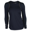 LUCKY IN LOVE Women`s Long Sleeve Athletic Tennis Crew Midnight