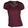 LUCKY IN LOVE Women`s Short Sleeve Tennis Crew Wine