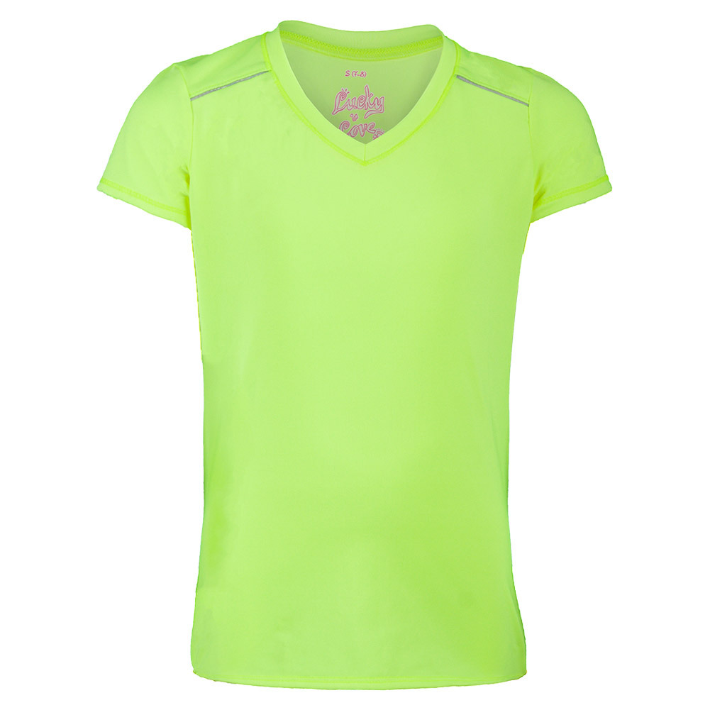 Girls ` V- Neck Cap Sleeve Tennis Top Yellow