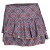 LUCKY IN LOVE Women`s Medallion Pleated Tier Tennis Skort Print