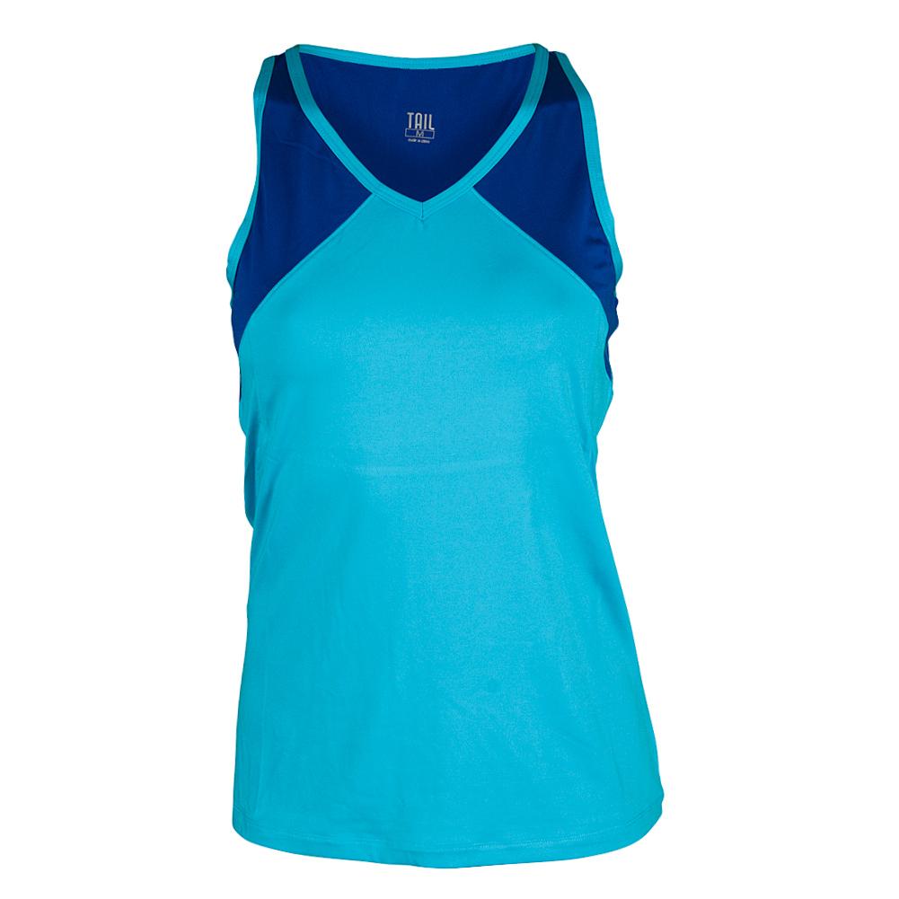 Women's Kiendra V- Neck Tennis Tank Blue Atoll And Playful Blue