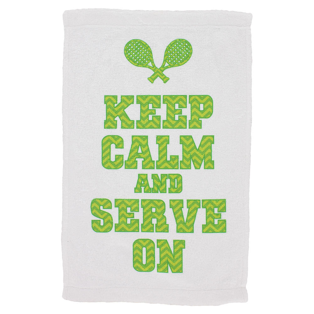 Keep Calm Chevron Tennis Towel White