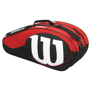 WILSON MATCH II 6 PACK TENNIS BAG BLACK/RD