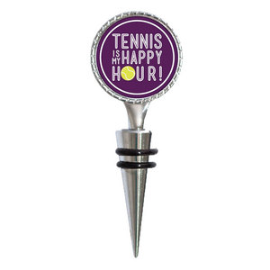4 WOODEN SHOES TENNIS IS MY HAPPY HOUR WINE STOPPER